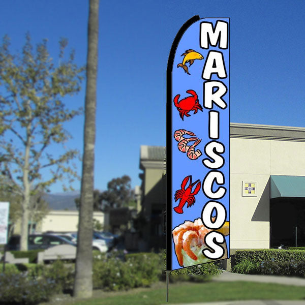 Mariscos Flutter Feather Banner Flag with Bundle Option (3 x 11.5 Feet)