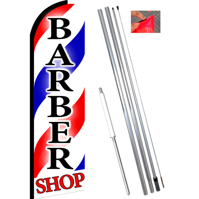 BARBER SHOP Flutter Feather Banner Flag Kit (Flag, Pole, & Ground Mt)