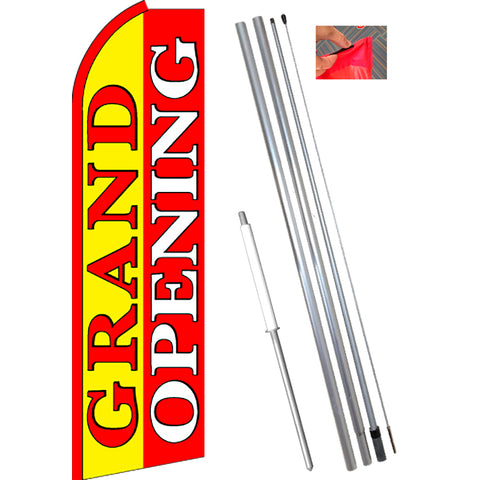 GRAND OPENING (Yellow/Red) Flutter Feather Banner Flag Kit (Flag, Pole, & Ground Mt)