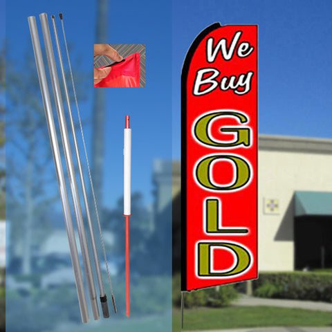 WE BUY GOLD (Red/Gold) Flutter Feather Banner Flag Kit (Flag, Pole, & Ground Mt)