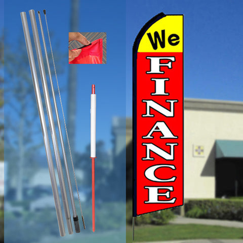 WE FINANCE (Yellow/Red) Flutter Feather Banner Flag Kit (Flag, Pole, & Ground Mt)