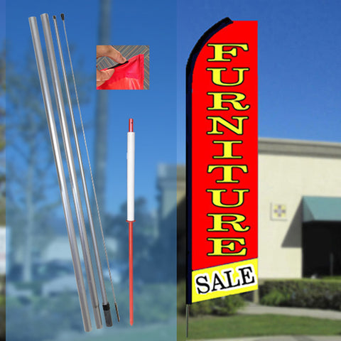 FURNITURE Sale (Red/Yellow) Flutter Feather Banner Flag Kit (Flag, Pole, & Ground Mt)