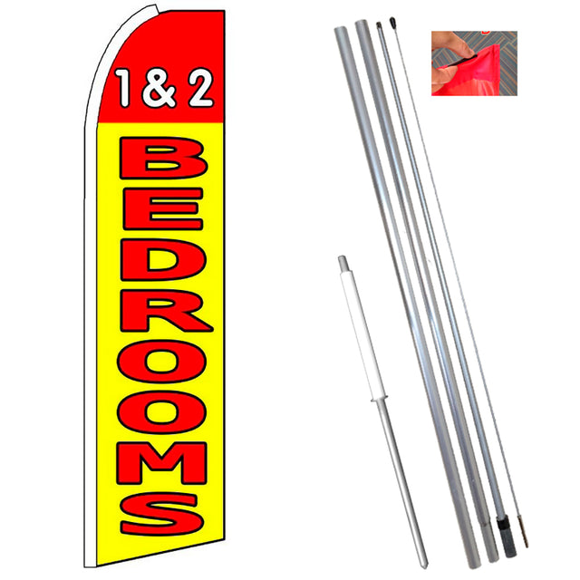 1 & 2 BEDROOMS (Red/Yellow) Flutter Feather Banner Flag Kit (Flag, Pole, & Ground Mt)