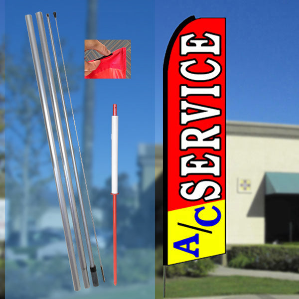 A/C SERVICE (Red/Yellow) Flutter Feather Banner Flag Kit (Flag, Pole, & Ground Mt)