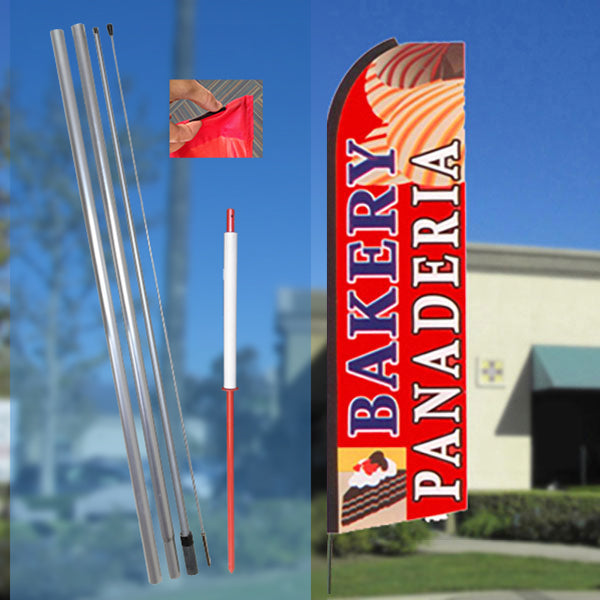 BAKERY/PANADERIA (R/B/W) Flutter Feather Banner Flag Kit (Flag, Pole, & Ground Mt)