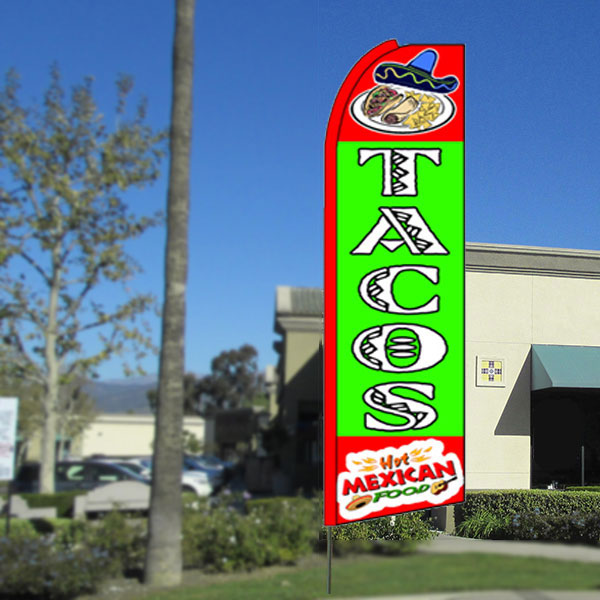 Tacos Flutter Feather Banner Flag with Bundle Option (3 x 11.5 Feet)