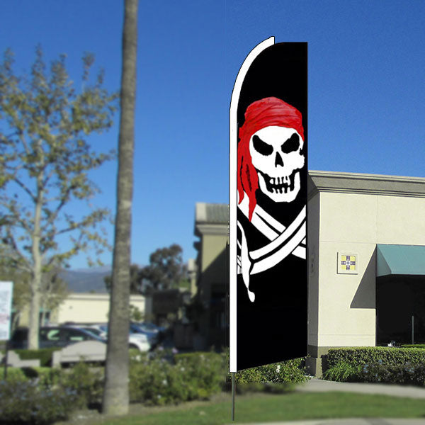 Pirate (Red Bandana) Flutter Feather Banner Flag with Bundle Option (3 x 11.5 Feet)