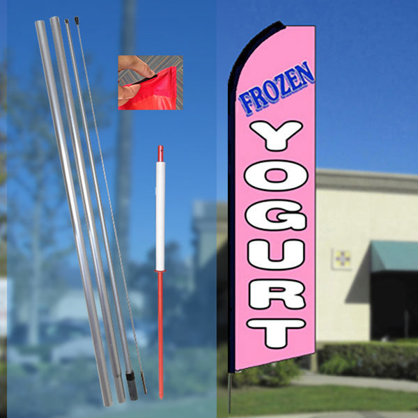 FROZEN YOGURT (Pink) Flutter Feather Banner Flag Kit (Flag, Pole, & Ground Mt)