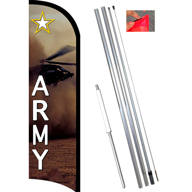 ARMY Premium Windless Feather Flag Kit (Flag, Pole, & Ground Mt)