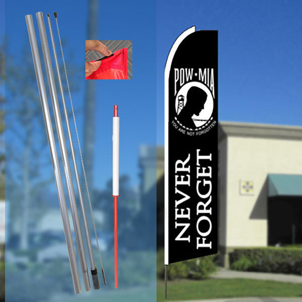 POW-MIA (Black) Flutter Feather Banner Flag Kit (Flag, Pole, & Ground Mt)