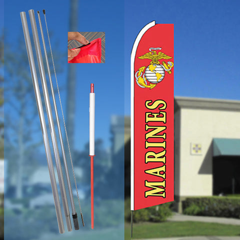 MARINES Flutter Feather Banner Flag Kit (Flag, Pole, & Ground Mt)