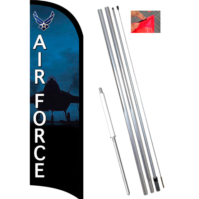 AIR FORCE Premium Feather Banner Flag Kit (Flag, Pole, & Ground Mt)