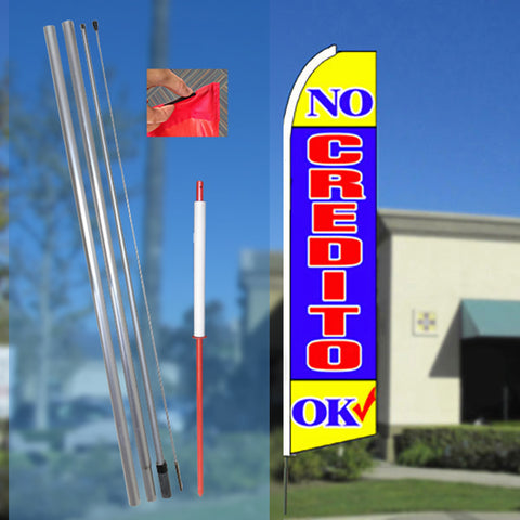 NO CREDITO OK (Yellow/Blue) Flutter Feather Banner Flag Kit (Flag, Pole, & Ground Mt)