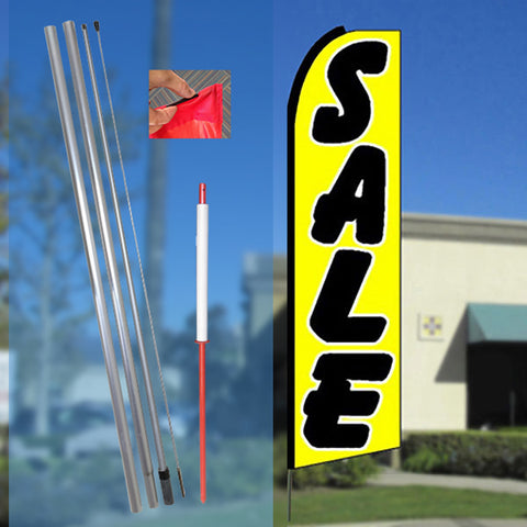 SALE (Yellow) Flutter Feather Banner Flag Kit (Flag, Pole, & Ground Mt)