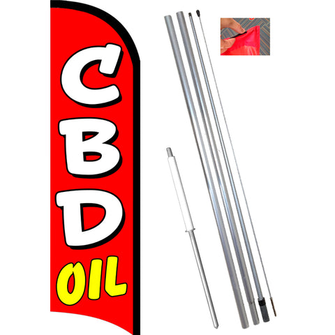 CBD OIL Premium Windless Feather Banner Flag Kit (Flag, Pole, & Ground Mount)