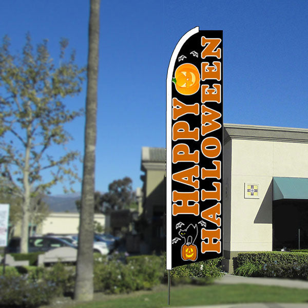 Happy Halloween Flutter Feather Banner Flag with Bundle Option (11.5 x 2.5 Feet)