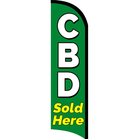 CBD Sold Here Premium Windless  Polyknit Feather Flag with Bundle Option (11 x 3 Feet)