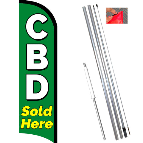 CBD Sold Here Premium Windless Feather Banner Flag Kit (Flag, Pole, & Ground Mount)