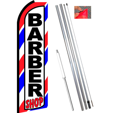 BARBER SHOP (Border) Flutter Feather Banner Flag Kit (Flag, Pole, & Ground Mt)