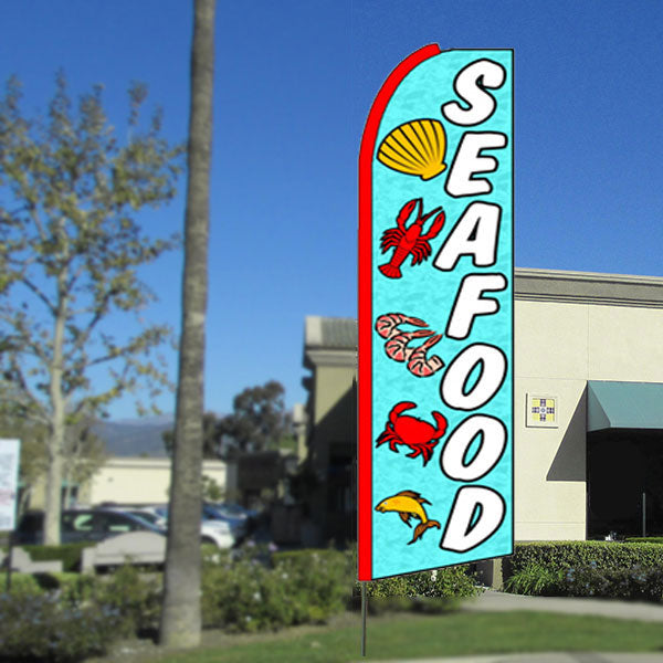 Seafood Flutter Feather Banner Flag with Bundle Option (3 x 11.5 Feet)