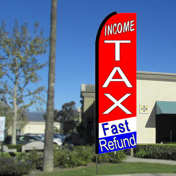 Income Tax Fast Refund (Tri-Color) Flutter Feather Banner Flag with Bundle Option (3 x 11.5 Feet)