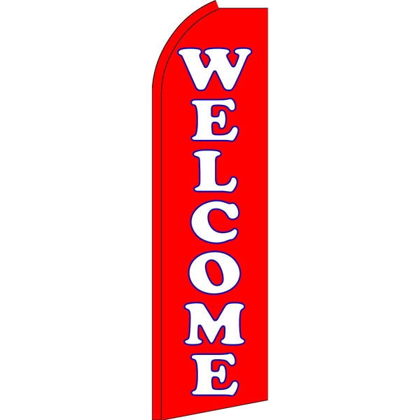 Welcome Flutter Feather Banner Flag with Bundle Option (3 x 11.5 Feet)