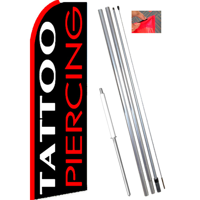 TATTOO/PIERCING (White/Red) Flutter Feather Banner Flag Kit (Flag, Pole, & Ground Mt)