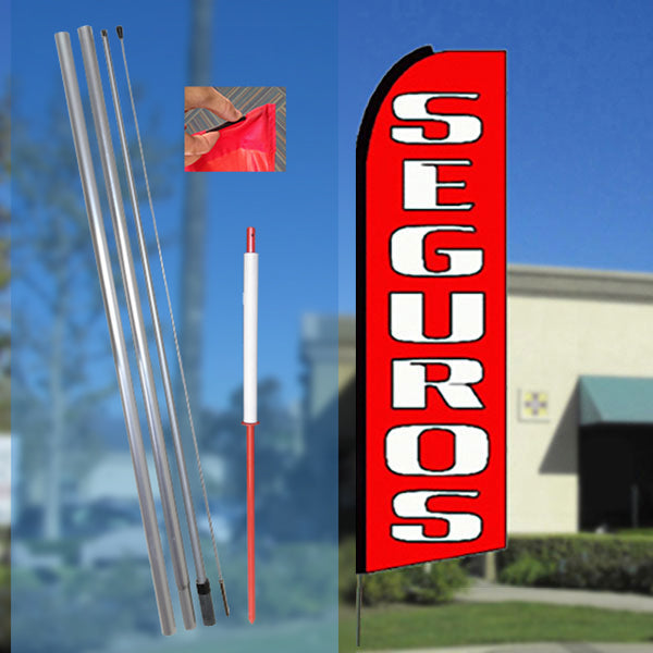 SEGUROS (Red) Flutter Feather Banner Flag Kit (Flag, Pole, & Ground Mt)