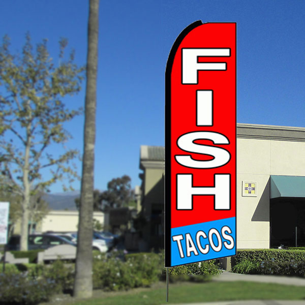 Fish Tacos Flutter Feather Banner Flag with Bundle Option (3 x 11.5 Feet)