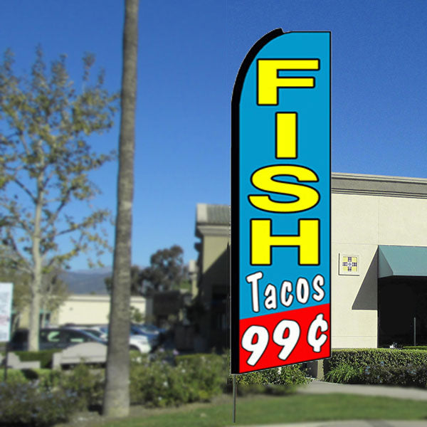 Fish Tacos 99 Flutter Feather Banner Flag with Bundle Option (3 x 11.5 Feet)