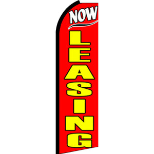 Now Leasing Flutter Feather Banner Flag with Bundle Option (3 x 11.5 Feet)