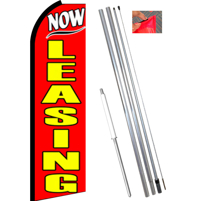 NOW LEASING (Red) Flutter Feather Banner Flag Kit (Flag, Pole, & Ground Mt)