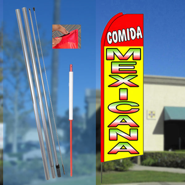 COMIDA MEXICANA (Red/Yellow) Flutter Feather Banner Flag Kit (Flag, Pole, & Ground Mt)