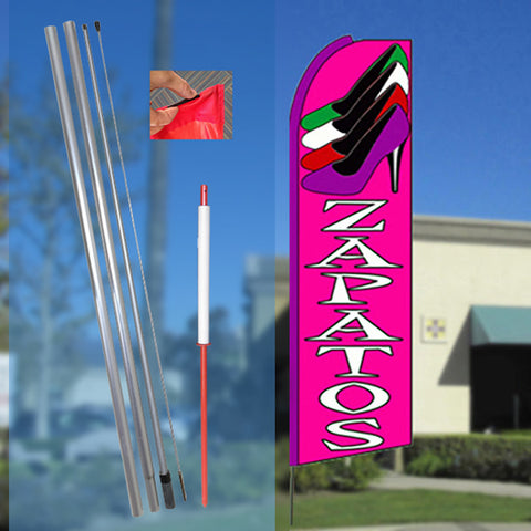 ZAPATOS (Pink) Flutter Feather Banner Flag Kit (Flag, Pole, & Ground Mt)