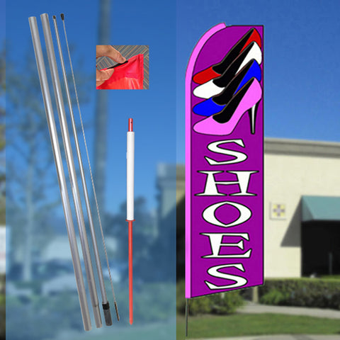 SHOES (Purple) Flutter Feather Banner Flag Kit (Flag, Pole, & Ground Mt)