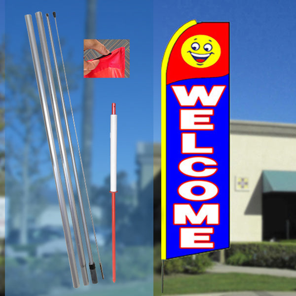 11.5 Tall x 3 Wide WALK-INS WELCOME Flutter Feather Flag FLAG ONLY Red//Black