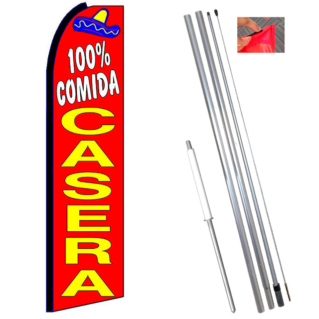 100% COMIDA CASERA (Red) Flutter Feather Banner Flag Kit (Flag, Pole, & Ground Mt)
