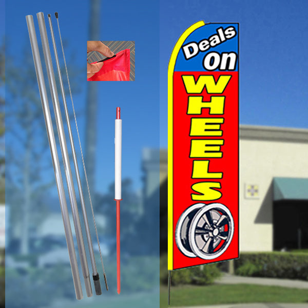 DEALS ON WHEELS (Blue/Red) Flutter Feather Banner Flag Kit (Flag, Pole, & Ground Mt)