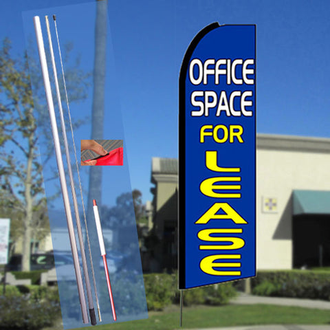 OFFICE SPACE FOR LEASE (Blue) Flutter Feather Banner Flag Kit (Flag, Pole, & Ground Mt)