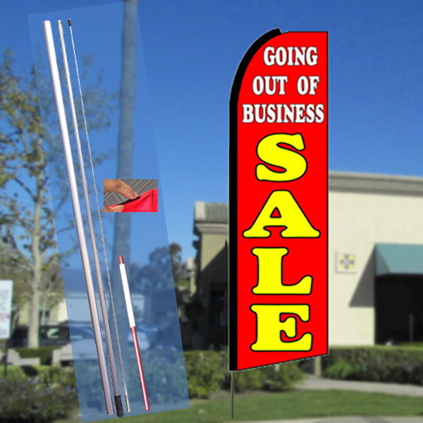 GOING OUT OF BUSINESS SALE (Red) Flutter Feather Banner Flag Kit (Flag, Pole, & Ground Mt)