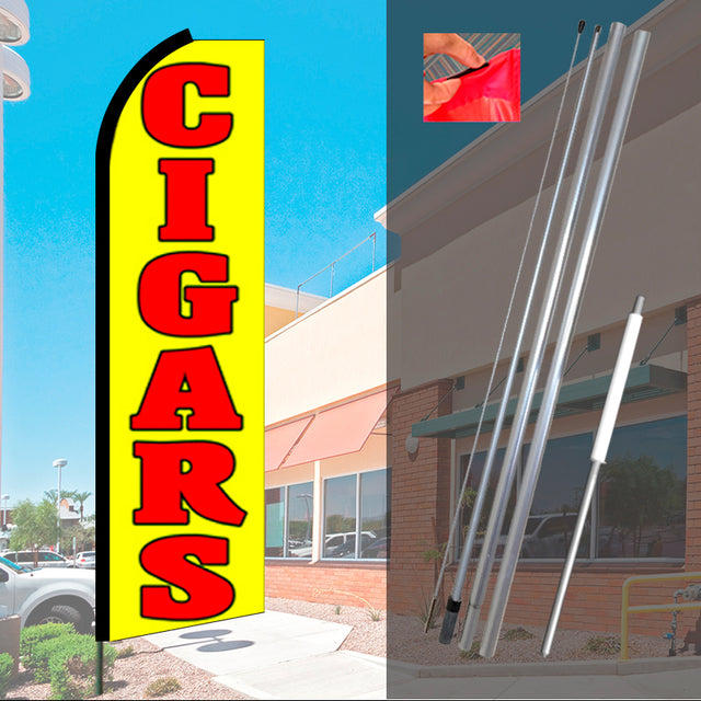 CIGARS (Yellow) Flutter Feather Banner Flag Kit (Flag, Pole, & Ground Mt)