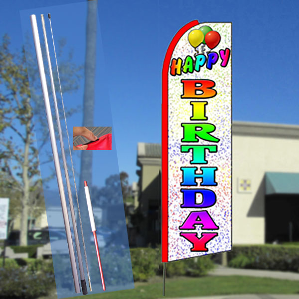HAPPY BIRTHDAY (White) Flutter Feather Banner Flag Kit (Flag, Pole, & Ground Mt)