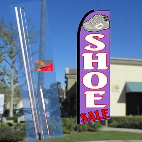 SHOE SALE (Purple) Flutter Feather Banner Flag Kit (Flag, Pole, & Ground Mt)