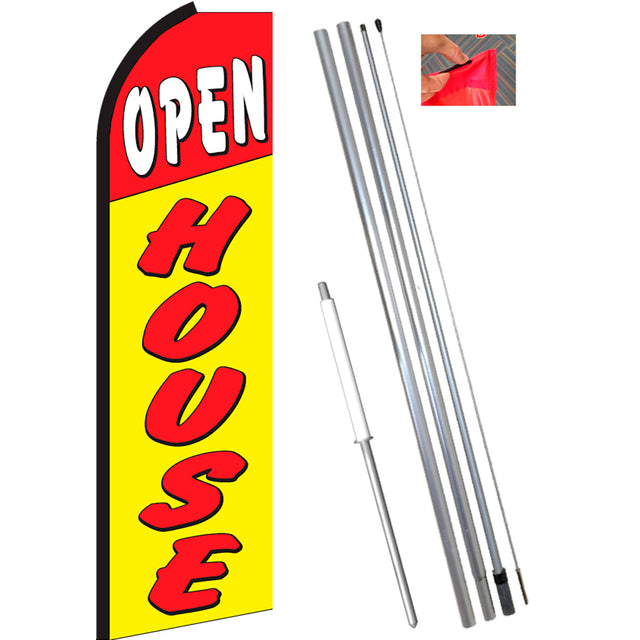 OPEN HOUSE (Red/Yellow) Flutter Feather Banner Flag Kit (Flag, Pole, & Ground Mt)