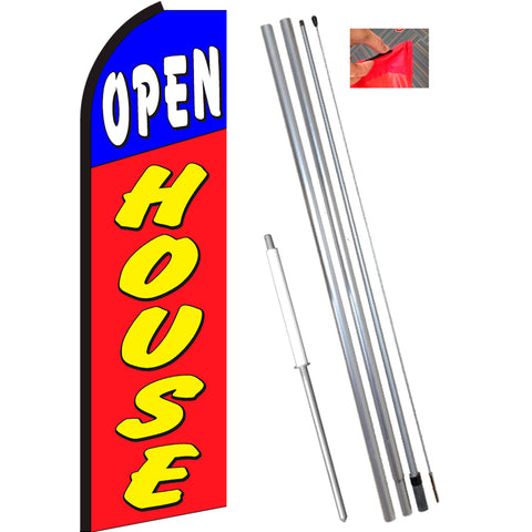 OPEN HOUSE (Blue/Red) Flutter Feather Banner Flag Kit (Flag, Pole, & Ground Mt)