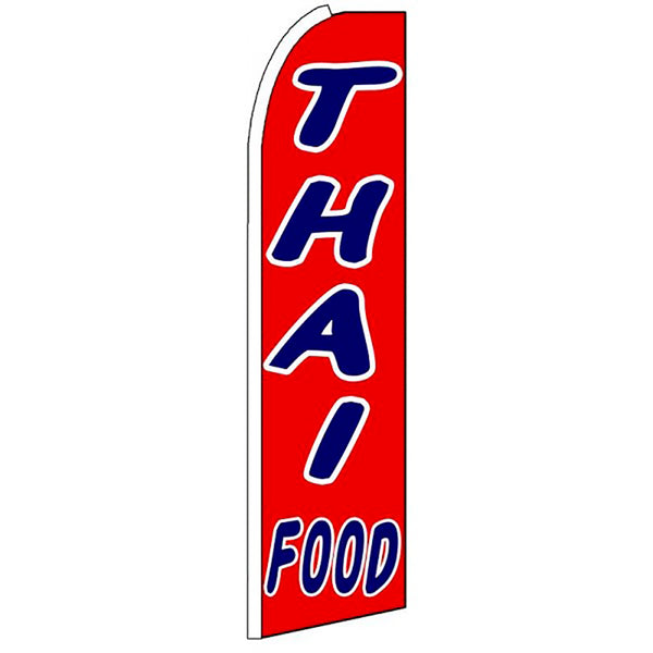 Thai Food Flutter Feather Banner Flag with Bundle Option (3 x 11.5 Feet)