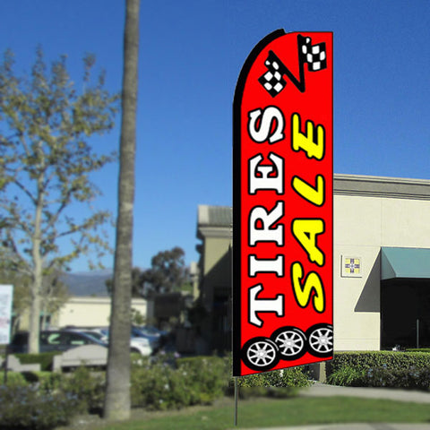 Tires Sale Flutter Feather Banner Flag with Bundle Option (3 x 11.5 Feet)