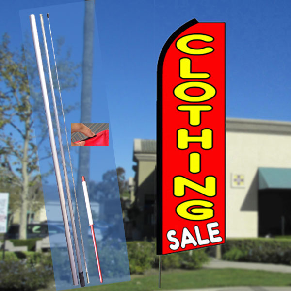 CLOTHING SALE (Red) Flutter Feather Banner Flag Kit (Flag, Pole, & Ground Mt)