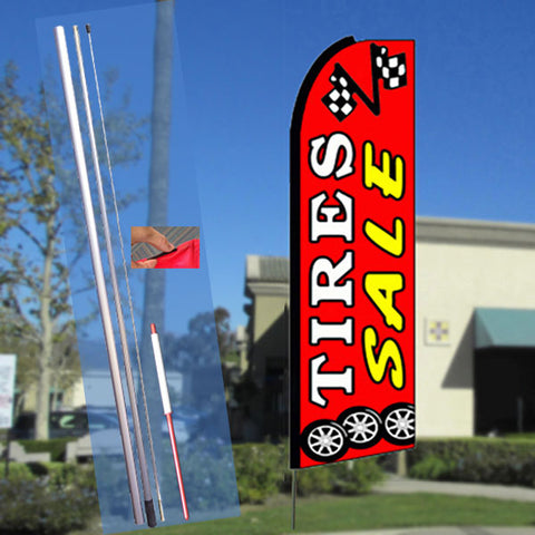 TIRES SALE (Red) Flutter Feather Banner Flag Kit (Flag, Pole, & Ground Mt)