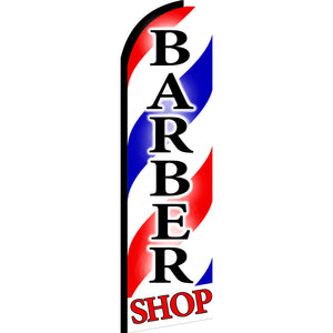 Barber Shop Flutter Feather Banner Flag with Bundle Option (3 x 11.5 Feet)